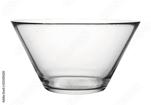 Fotografía  Empty glass dish isolated on white background.