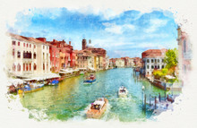 Venetian Grand Canal With Boat...