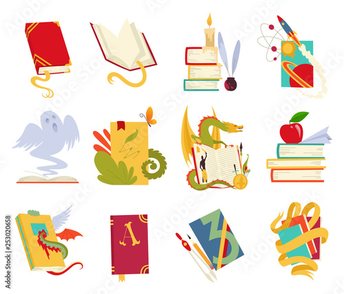 Canvas Print Icons of books vector set with dragon, bird feathers, candle, aple, bookmark and ribbon