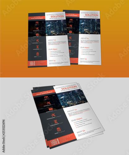 Fotografie, Obraz  Marketting Business Flyer with Orange Black Accent