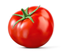 Tomato Isolated. Tomato On White. With Clipping Path. Full Depth Of Field.