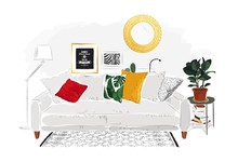 Living Room Interior With Grey Sofa, Pillows, Plant And Lamp. Vector Sketch Illustration