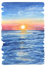Watercolor Painting The Background Of Sea Sunset View With Jagged Edges And Brush Marks.