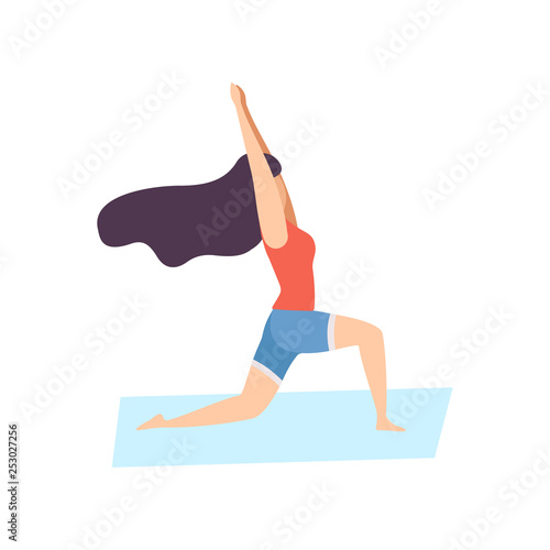 Girl in Warrior Pose, Young Woman Practicing Yoga, Physical Workout Training Vec Fototapet