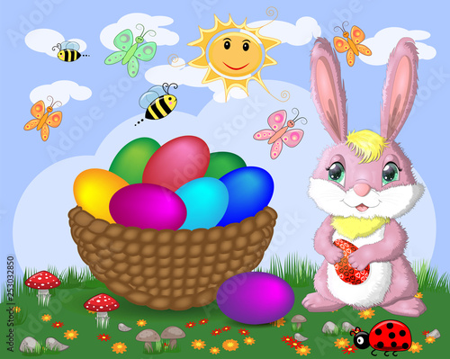 Wall Murals Ranch Easter bunnies near the basket with Easter eggs in the meadow, the sun, butterflies, spring. Copy space