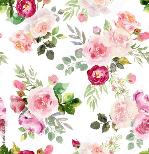 Tapety Retro  akwarela-kwiatowy-wzor
