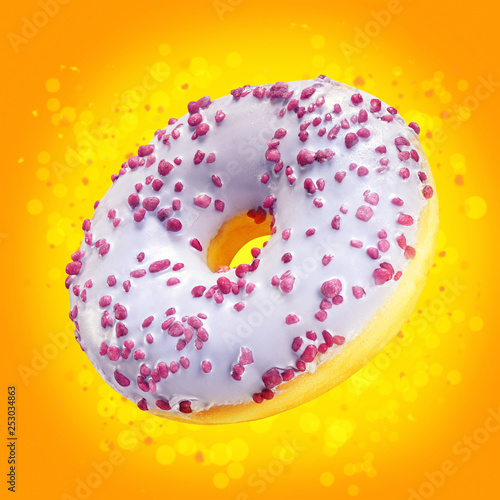 Download Design Mockup Donut Closeup With Frosted Purple Glaze Sweet Food Concept Amazing Ads Flyer With Donuts On Orange Background With Splash Yellow Bokeh Doughnut Dessert Template For Sale Or Discount Stock Photo