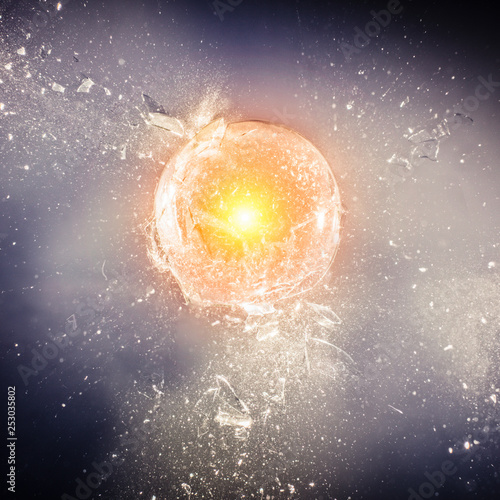 real exploding glass sphere Canvas Print