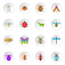 Insects Icons Set. Cartoon Ill...