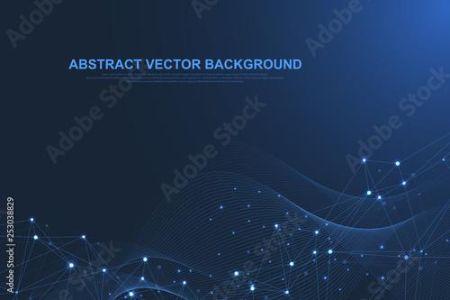 Futuristic abstract vector background blockchain technology Wallpaper Mural