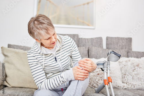 Senior woman with knee injury