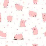 cute pink pig set pattern - 253040809