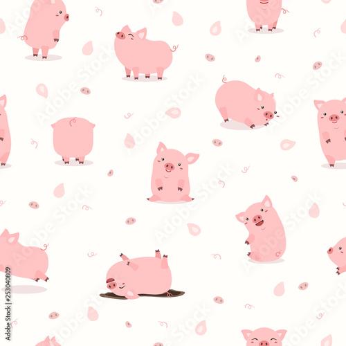 cute pink pig set pattern Fototapete