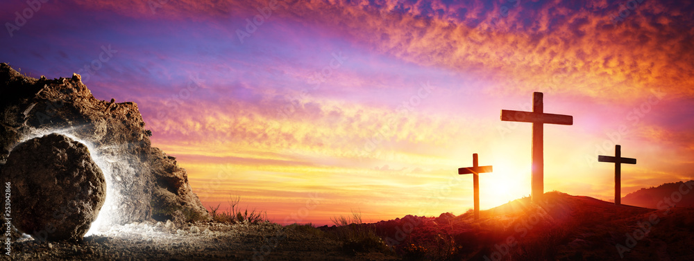 Fototapety, obrazy: Resurrection - Tomb Empty With Crucifixion At Sunrise