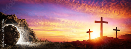 Resurrection - Tomb Empty With Crucifixion At Sunrise - 253042866