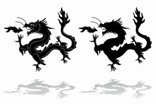 Silhouette Of Chinese Dragon , Vector Draw