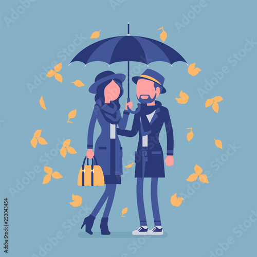Couple With Umbrella In Autumn Man Woman In Love Standing