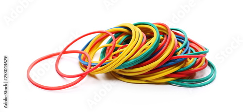 Foto Colorful rubber bands isolated on white background