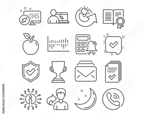 set of confirmed, column diagram and mail icons  calculator alarm, online  education and diploma signs  share idea, award cup and handout symbols