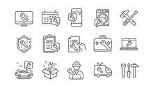 Repair Line Icons. Hammer, Scr...