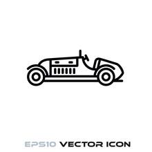 Vintage Racing Car Vector Line...