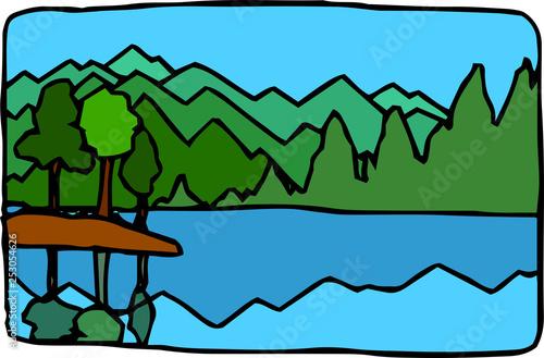 Foto op Plexiglas Groene Rough sketch of hand-drawn natural scenery