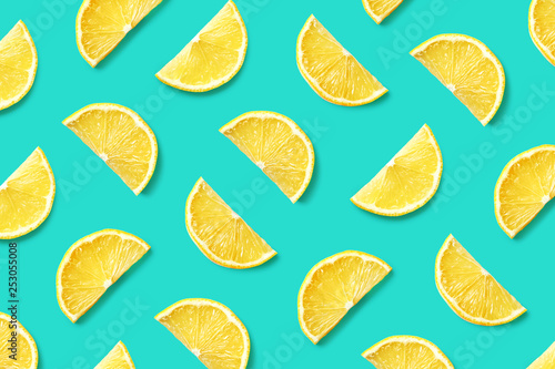 Fototapeta Fruit pattern of lemon slices obraz