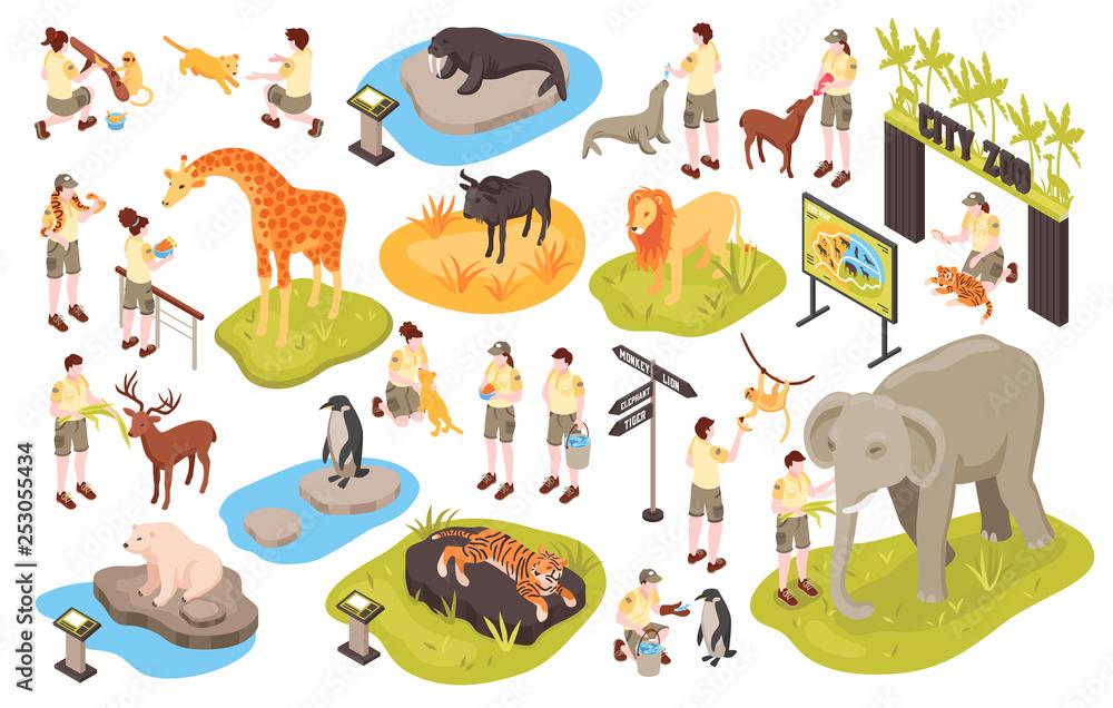 Fototapeta Isometric Animal Park Set