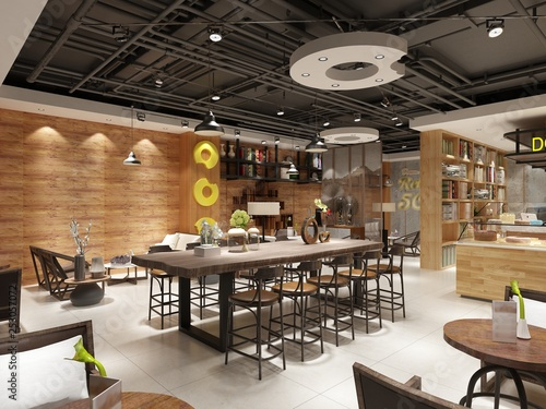Photo Stands Library 3d render of luxury restaurant