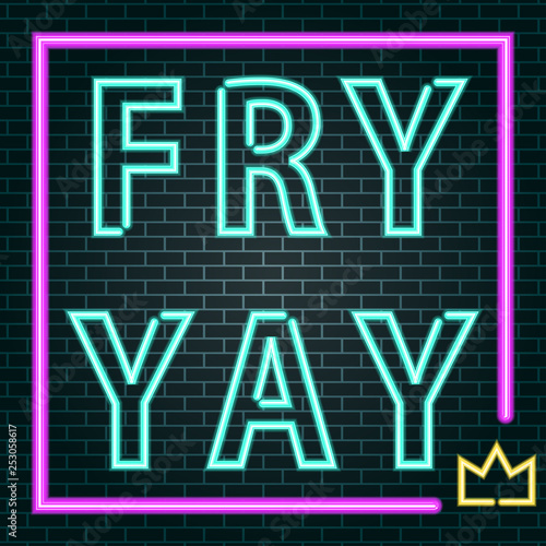 Fotobehang Retro sign friday neon sign