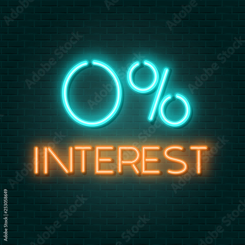 Poster Retro sign 0 interest neon sign