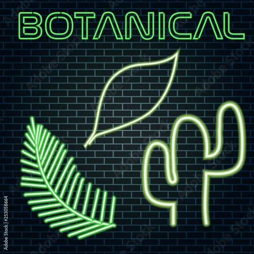 Poster Retro sign botanical neon sign