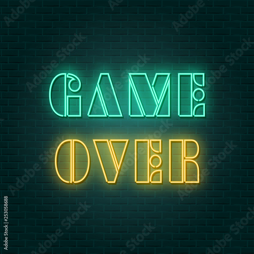 Poster Retro sign game over neon sign