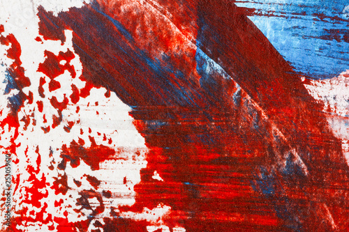 Fotografie, Obraz  Abstract red and blue hand painted acrylic background