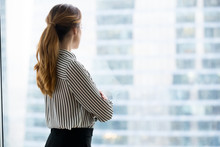 Rear View At Confident Rich Businesswoman Looking Forward Through Window