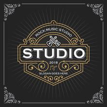 Music Studio Logo. Vintage Luxury Banner Template Design For Label, Frame, Product Tags. Retro Emblem Design. Vector Illustration