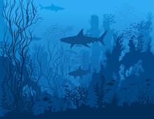 Blue Underwater Landscape With...
