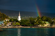canvas print picture - White church and rainbow over the city of Kailua Kona, Big Island, Hawaii