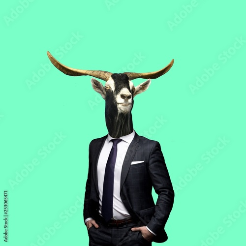 Contemporary art collage,goat in a suit