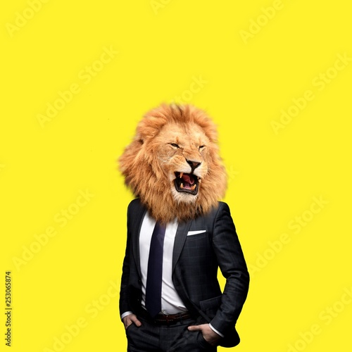 Foto op Canvas Leeuw Contemporary art college, man in the form of a lion