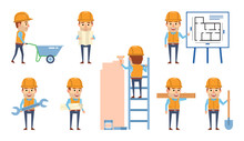 Set Of Construction Worker Cha...
