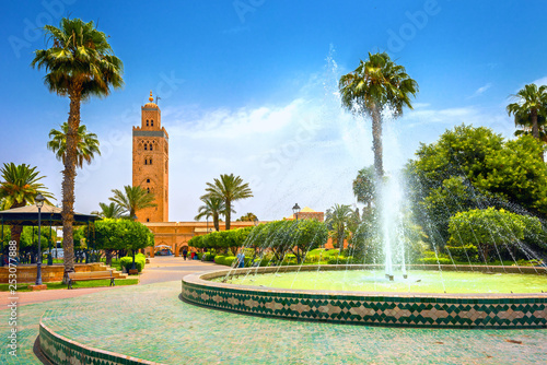 Canvas Prints Morocco Cityscape with beautiful fountain in park. View of Koutoubia Mosque. Marrakesh, Morocco, North Africa