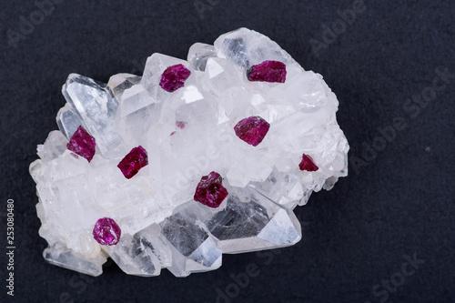 Fotografie, Obraz  Top quality A grade small rough RUBY crystals from Tanzania on FADEN QUARTZ CLUSTER