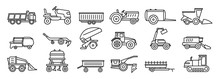 Agricultural Machines Equipment Icons Set. Outline Set Of Agricultural Machines Equipment Vector Icons For Web Design Isolated On White Background