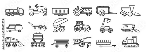 Fototapeta Agricultural machines equipment icons set. Outline set of agricultural machines equipment vector icons for web design isolated on white background obraz