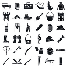 Camping Hunting Equipment Icons Set. Simple Set Of Camping Hunting Equipment Vector Icons For Web Design On White Background