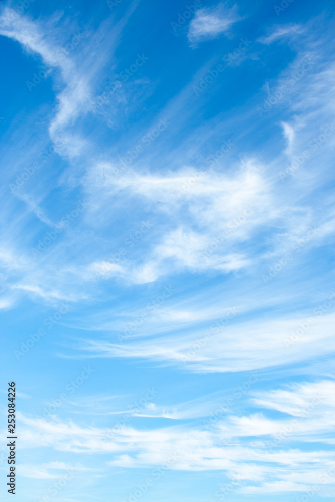 Fototapeta White clouds high in the sky at windy winter day background