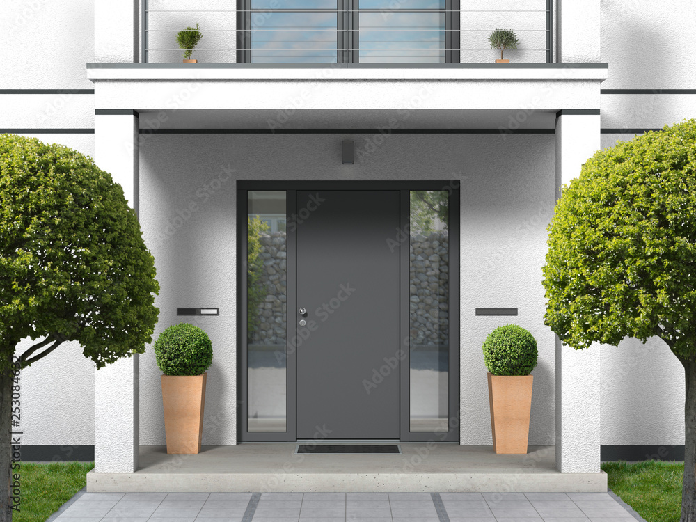 Fototapeta house facade with entrance portal, balcony, pillars and front door - 3D rendering