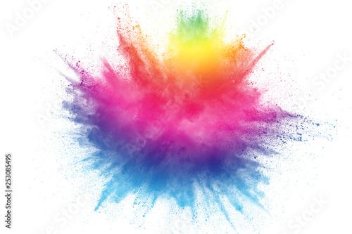 Fototapeta Multicolored particles explosion on white background. Colorful dust splatter on white background. obraz na płótnie