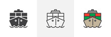 Container, Cargo Ship Icon. Li...